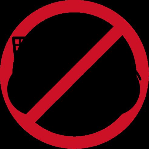 自転車進入禁止アイコンのイラスト(黒赤)