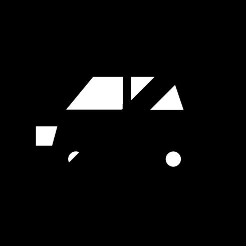 自動車進入禁止アイコンのイラスト(白黒)
