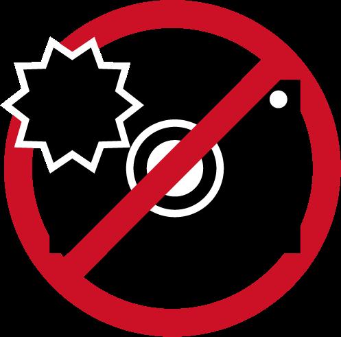 フラッシュ禁止アイコンのイラスト(黒赤)