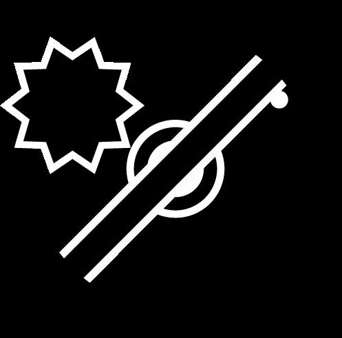 フラッシュ禁止アイコンのイラスト(白黒)