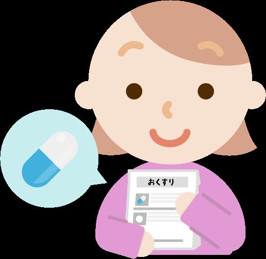 薬を処方される若い女性のイラスト