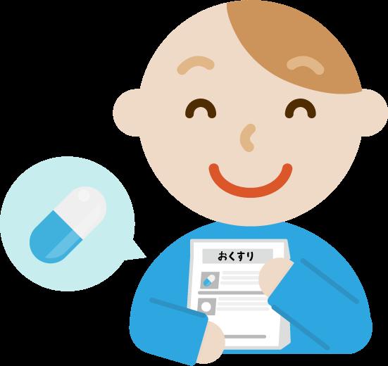 薬を処方される若い男性のイラスト(笑顔)
