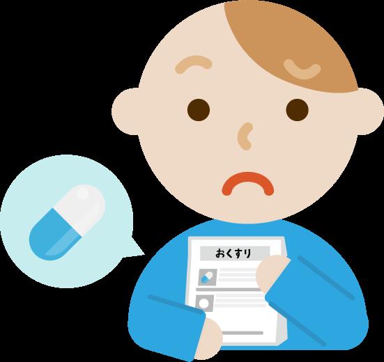薬を処方される若い男性のイラスト(困る)