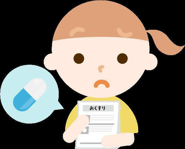 薬を処方される女の子のイラスト(困る)