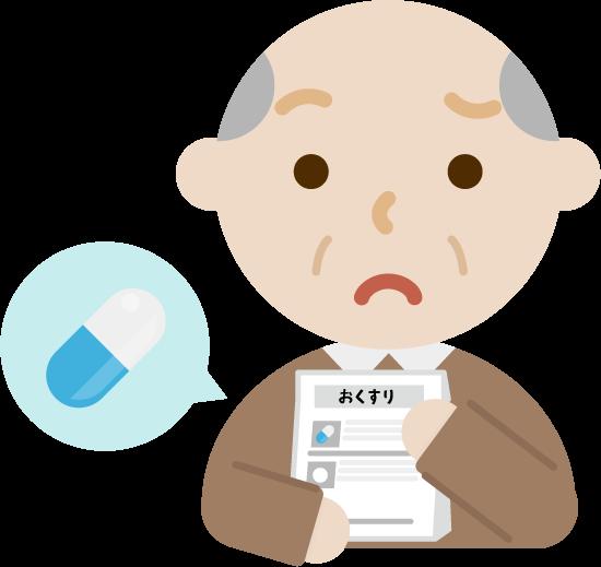 薬を処方される高齢者の男性のイラスト(困る)