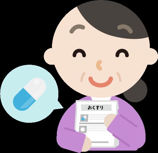 薬を処方される中年の女性のイラスト(笑顔)