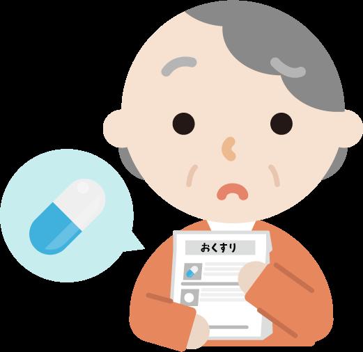 薬を処方される高齢者の女性のイラスト(困る)
