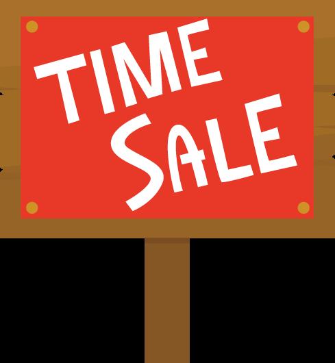 「TIME SALE」の看板のイラスト