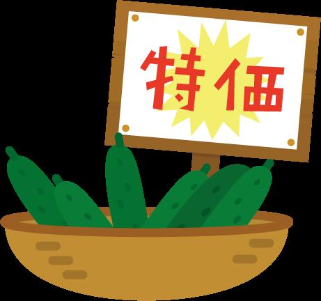 特価の胡瓜のイラスト