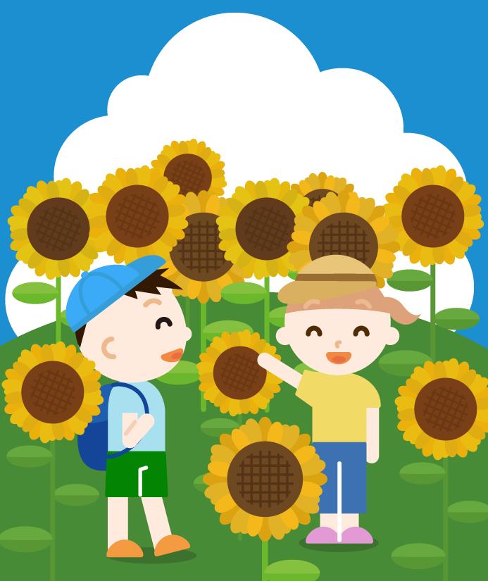夏のひまわり畑と子供のイラスト(昼)
