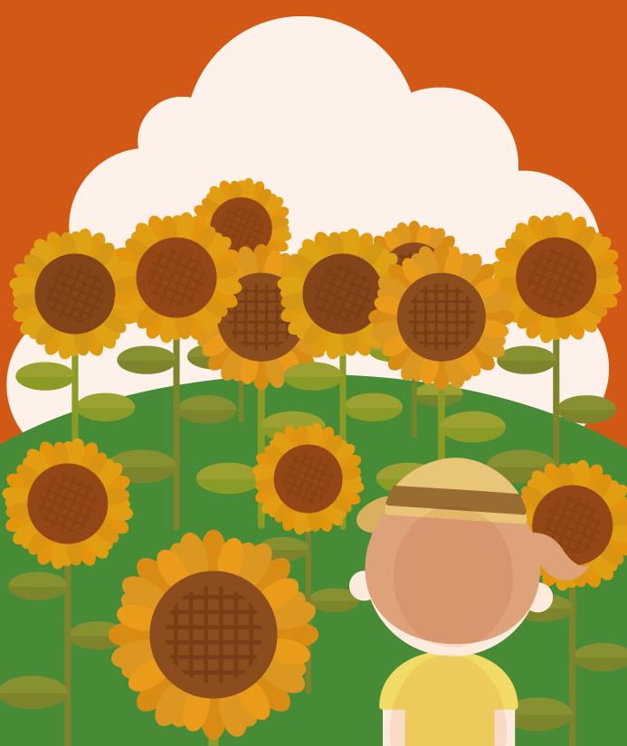 夏のひまわり畑と女の子のイラスト(夕方)