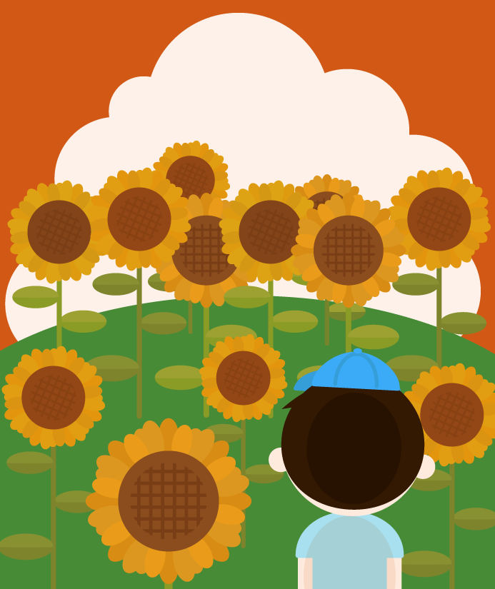 夏のひまわり畑と男の子のイラスト(夕方)