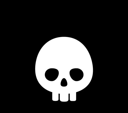 ドクロのアイコンイラスト(三角・白黒)