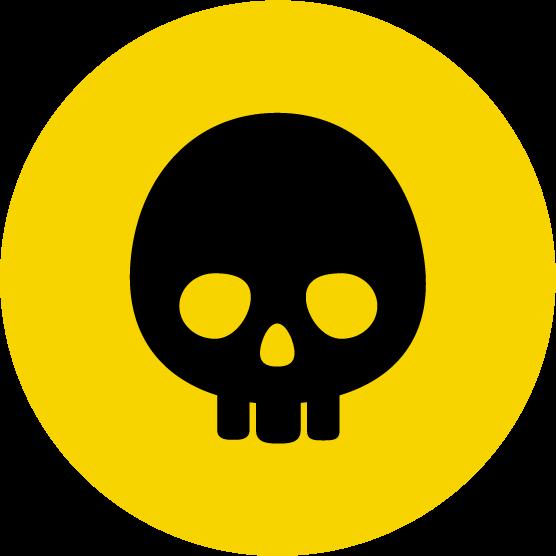 ドクロのアイコンイラスト(丸・黄黒)