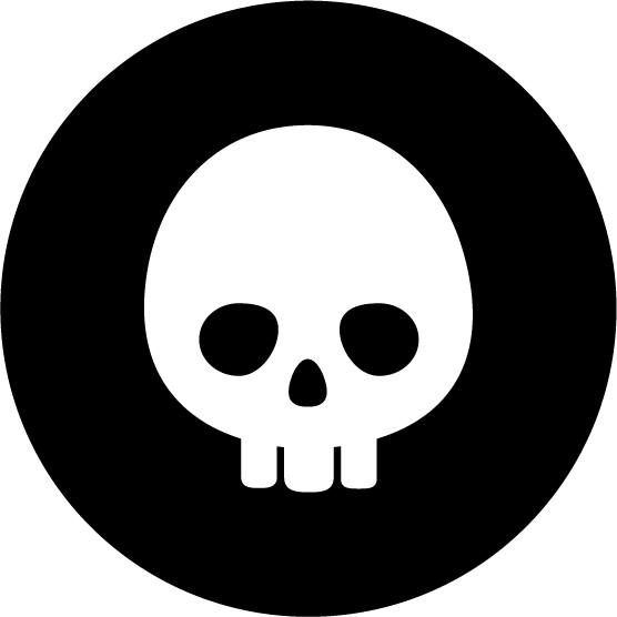 ドクロのアイコンイラスト(丸・白黒)