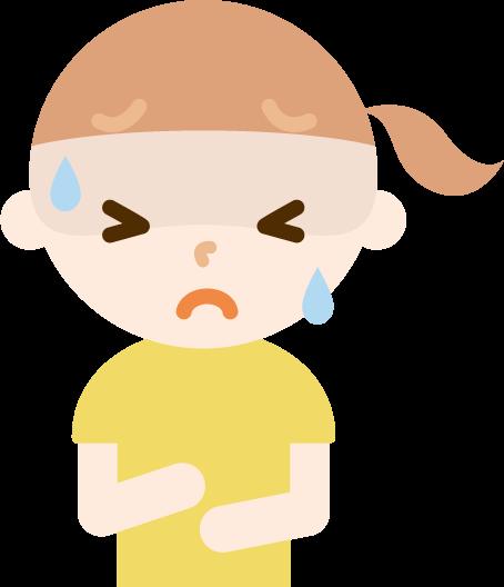 腹痛で苦しむ女の子のイラスト