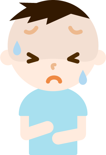 腹痛で苦しむ男の子のイラスト