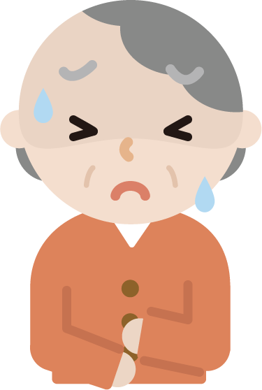 腹痛で苦しむ高齢者の女性のイラスト