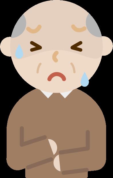 腹痛で苦しむ高齢者の男性のイラスト