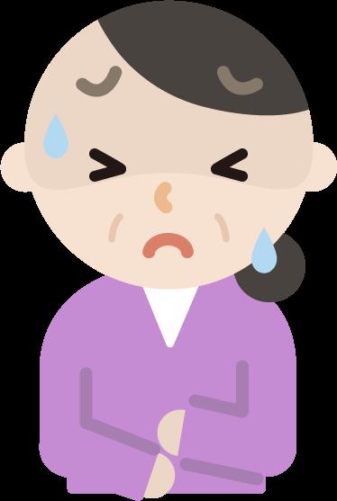 腹痛で苦しむ中年の女性のイラスト