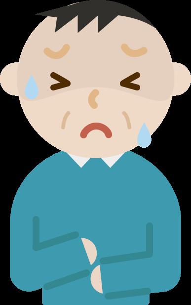 腹痛で苦しむ中年の男性のイラスト