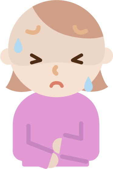 腹痛で苦しむ若い女性のイラスト