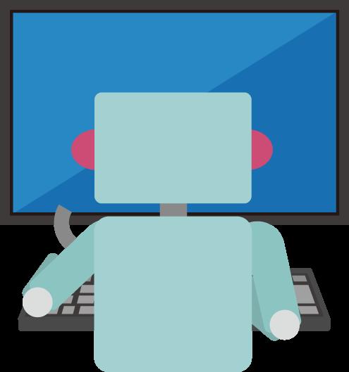 PCで作業をするロボットのイラスト2