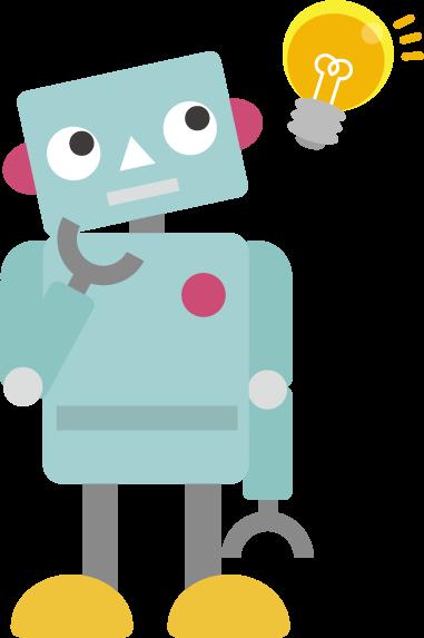 ひらめくロボットのイラスト