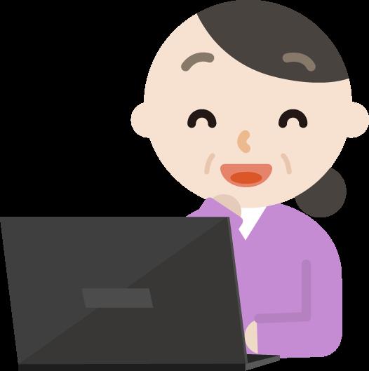 パソコンをする中年の女性のイラスト(笑顔)