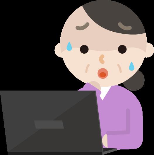 パソコンをする中年女性のイラスト(困る)