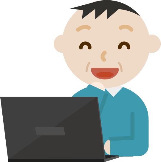パソコンをする中年の男性のイラスト(笑顔)