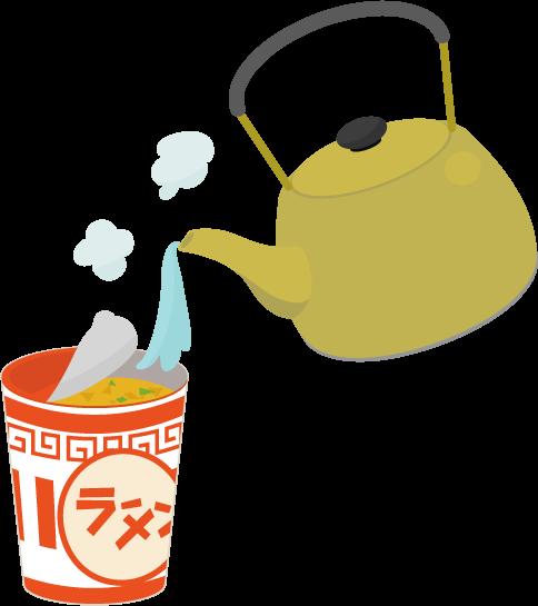 カップ麺とヤカンのイラスト2