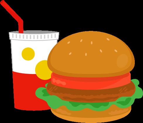 ハンバーガーとドリンクのイラスト