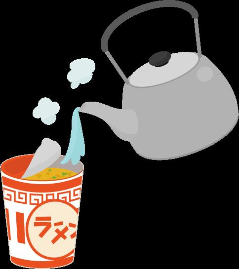 カップ麺とヤカンのイラスト