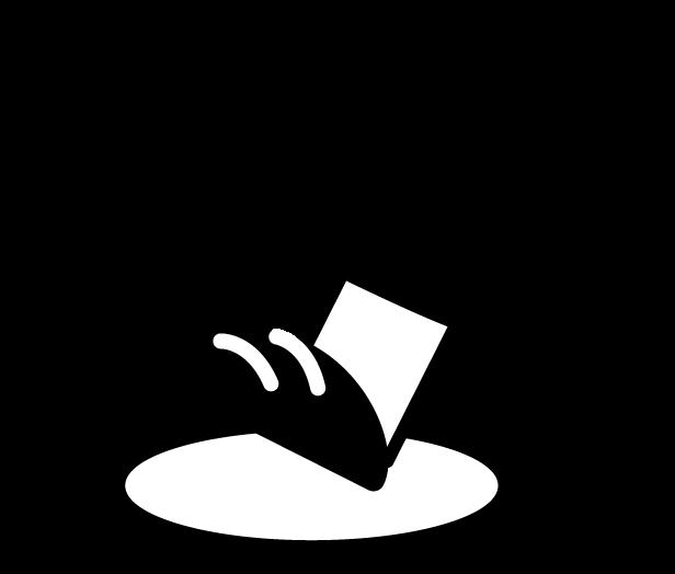 インバウンドアイコンのイラスト(白黒)