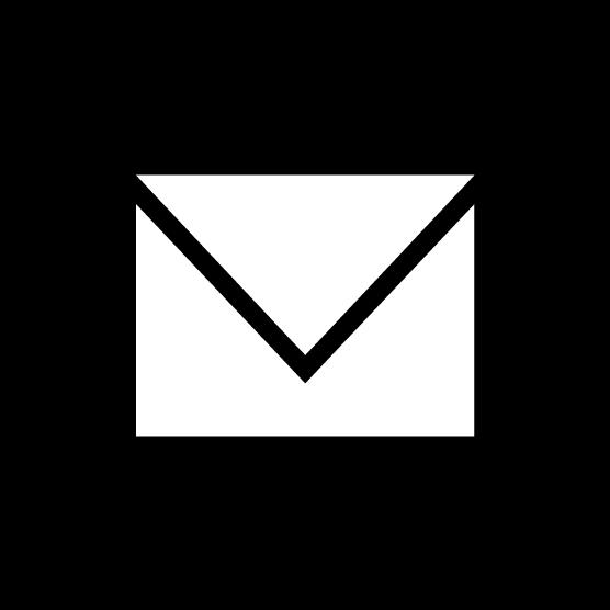 メールのアイコンのイラスト(丸・白黒)