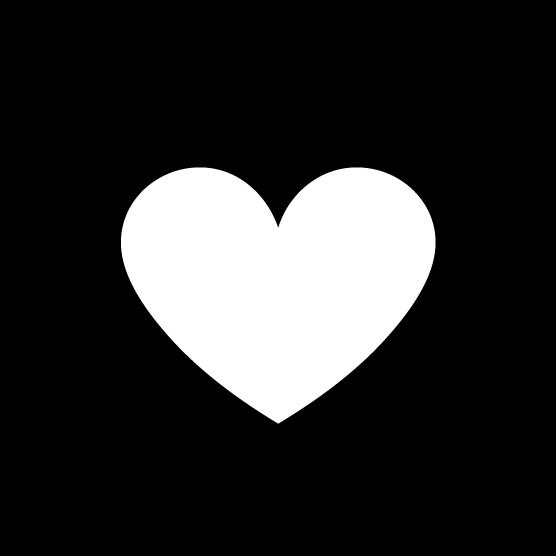 ハートのアイコンのイラスト(丸・白黒)