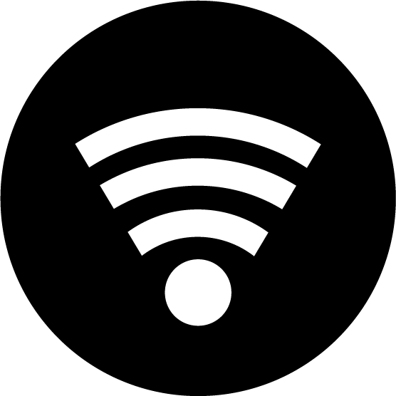 Wi-Fiアイコンのイラスト(丸・白黒)