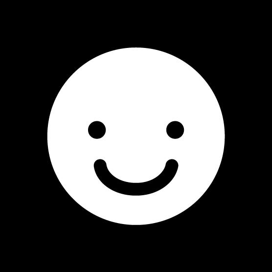 スマイルアイコンのイラスト(丸・白黒)