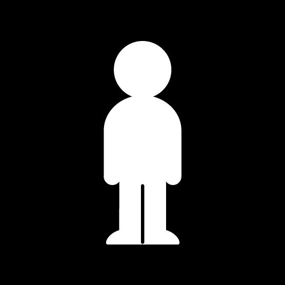 人物のシルエットアイコンのイラスト(男・丸・白黒)