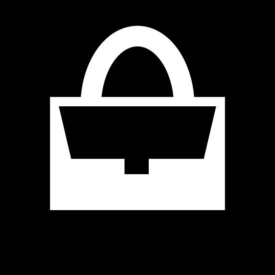 バッグアイコンのイラスト(丸・白黒)
