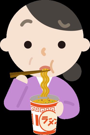 カップ麺を食べる中年の女性のイラスト(まずい)