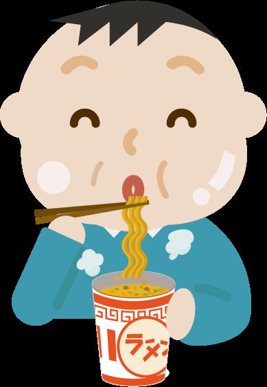 カップ麺を食べる中年の男性のイラスト(太る)