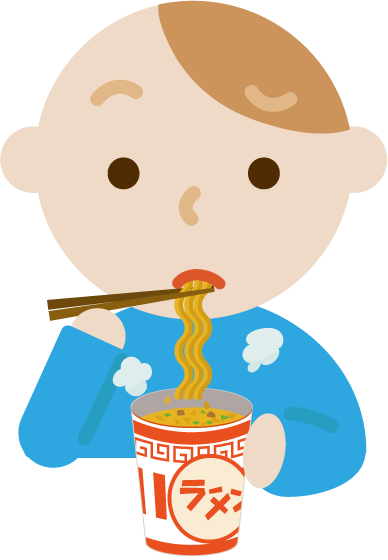 カップ麺を食べる若い男性のイラスト(まずい)