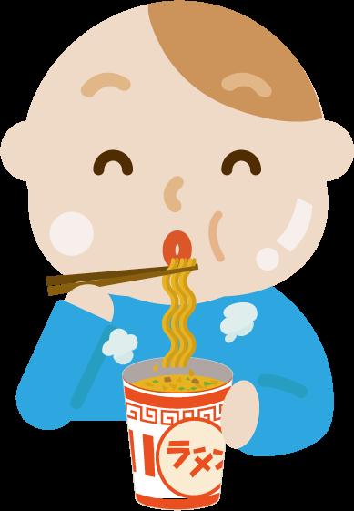 カップ麺を食べる若い男性のイラスト(太る)