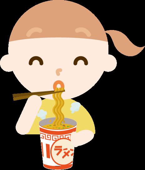 カップ麺を食べる女の子のイラスト(笑顔)