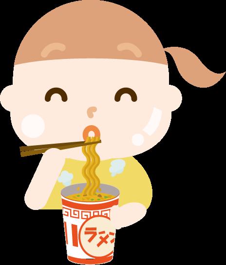 カップ麺を食べる女の子のイラスト(太る)