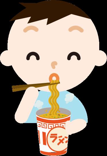 カップ麺を食べる男の子のイラスト(笑顔)