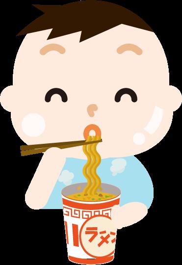 カップ麺を食べる男の子のイラスト(太る)