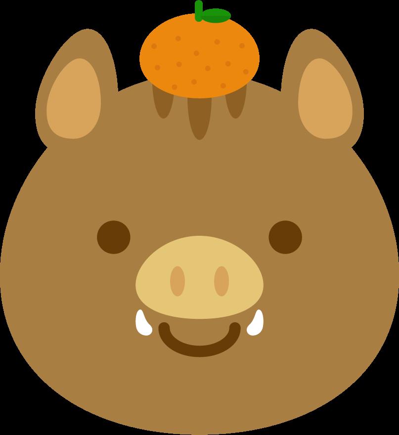 猪のイラスト(正面顔アップ2)
